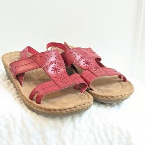 Leather red strap sandals by Cobbie Cuddlers